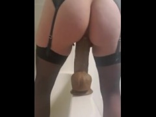 """Sexy wife in lingerie squirts on her 12"""" BBC dildo; rear view pt 2"""