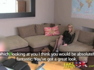 FakeAgentUK creampie for sexy blonde MILF in adult casting