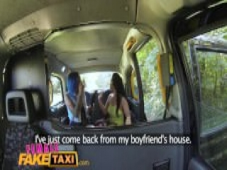 FemaleFakeTaxi Sexy lesbian fun with toys in british taxi