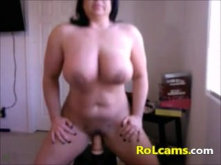 Beautiful busty milf dildo riding