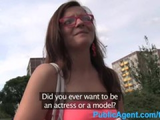 PublicAgent Brunette in glasses spit roasted by two big cocks
