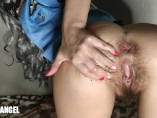 VERY HAIRY HOLE - BUTT PLUG JAMMED IN TIGHT ASS