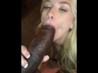 Blondie sucks huge Big Black Cock
