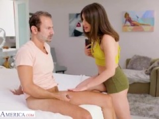 Father fucks his daughter's best friend after she catches him jerking off