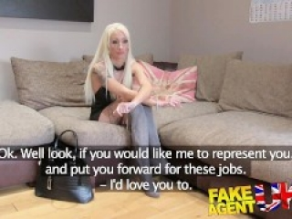 FakeAgentUK Petite blonde UK escort takes big fat cock on casting couch