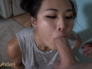 18 Year Old Asian Girl with GREEN Eyes THROATFUCKED POV @SukiSukiGirl