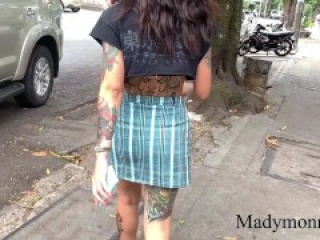 Mady gets her pussy creamie after being controlled by her friend in Uber