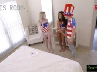 4 July threesome with step sis and friend