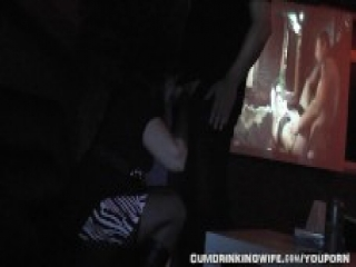 Creampied by strangers at Adult Theater