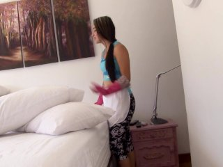 OPERACION LIMPIEZA - POV sex with Colombian teen maid Valeria Matasanos