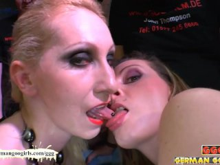 Babes Fucked Side by Side sharing cum - German Goo Girls